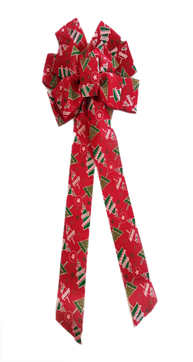 11 loop red burlap bow with Christmas trees Image