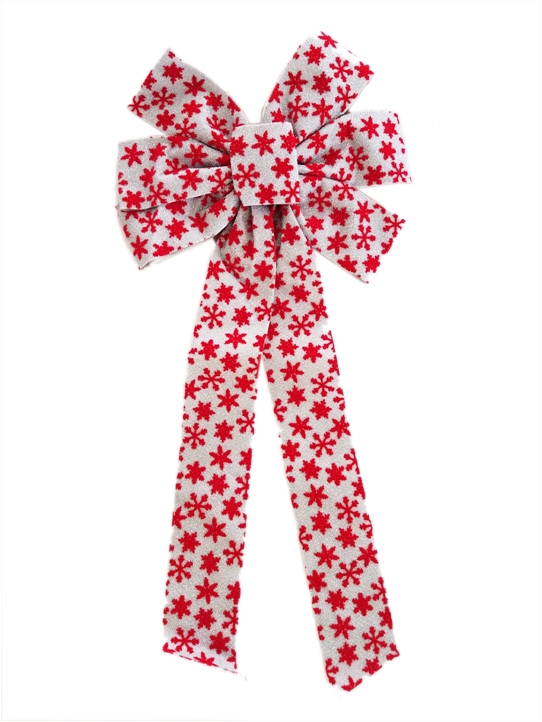 7 loop fabric bow with Christmas snow flakes Image
