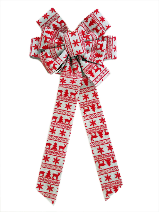 7 loop fabric bow with Christmas design Image