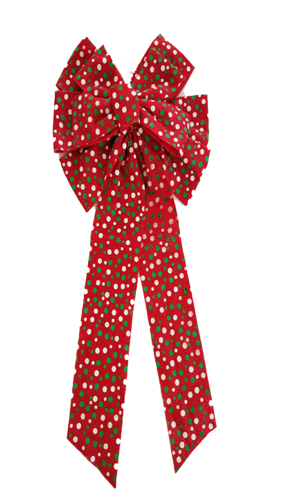 Large 11 loop Red fabric Christmas bow with Christmas color dots Image