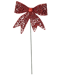 Mesh Red Glitter Bow Pick Image
