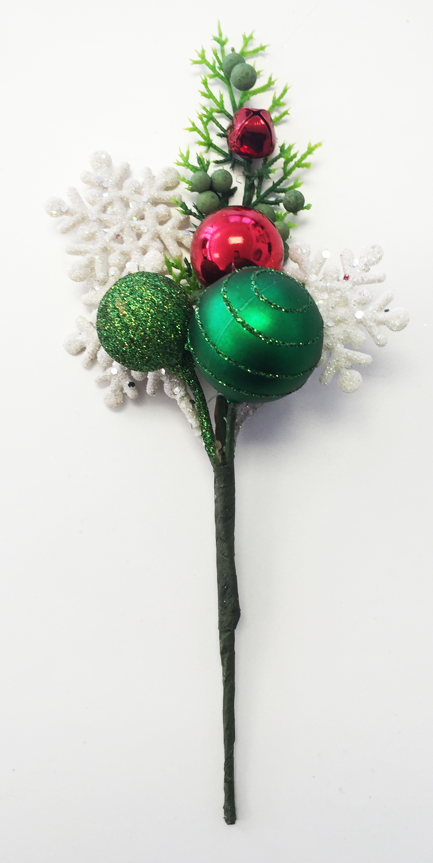 Holiday various sizes ball pick with greens Image