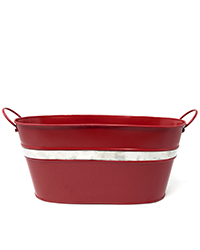 Oval red container with handles and silver band Image