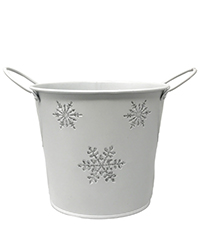 Round White metal container with silver snowflakes and handles Image