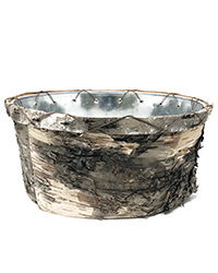 Low round birch metal insert container Image