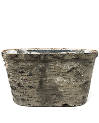 Oval birch metal insert container Image
