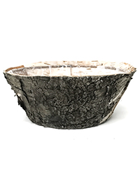Small round birch container with plastic liner Image